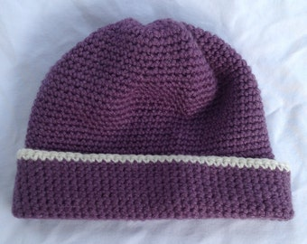 Warm Winter Dusky Purple Yarn Fold-Over Crochet Hat