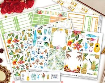 HawaYou Weekly Planner Sticker Kit | Hawaii Stickers | Tropical Stickers | Summer Stickers | Weekly Kit | EC Vertical Kit