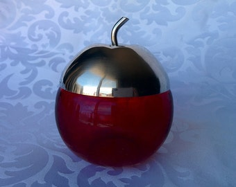 Ruby Glass Apple With Silver Plated Lid, Ruby Glass, Apex Ruby Glass Apple Preserve Container