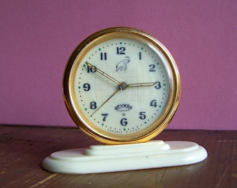 Soviet Clock Druzhba. Vintage Mechanical Desk clock. Slava Alarm Clock. USSR 11 jewels Elefant