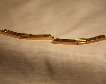 Vintage 2 1928 Gold Tone SWANK COLLAR STAY Tie Bar Mens Pat 75818 B&W Plate