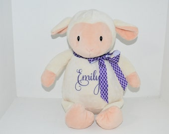 Lamb Stuffie Personalized Embroidered