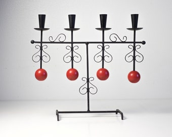 Vintage Mid Century Modern Scandinavian Advent Candlestick Holder Black Metal Candleholder Scandinavian Design Swedish Christmas Home Decor