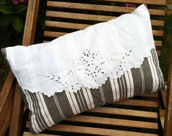 Gray striped ticking and embroidery pillow