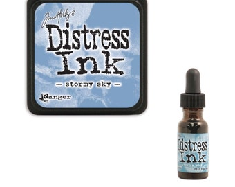 Tim Holtz Ranger Distress Ink Duo-Stormy Sky-Ink Pad and Reinker Bundle