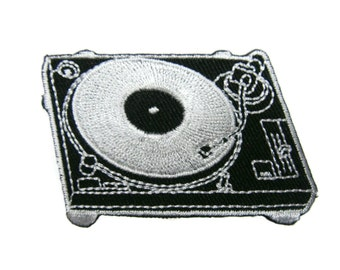 Phonograph Turntable Record Player Embroidered Applique Iron on Patch