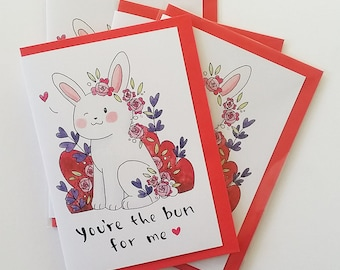 You're the bun for me - Valentines day card - bunny - pun - cute - funny - valentine - love - pack of 3 - greeting cards