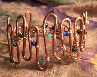 A Handmade Hand Forged Copper Wire Wrapped Swarovski Blue Green Aqua Teal Bracelet
