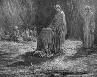 Poet Sordello Astonished Kneels Before Virgil Purgatorio Canto 7 Vintage Engraving Gustave Dore Black & White