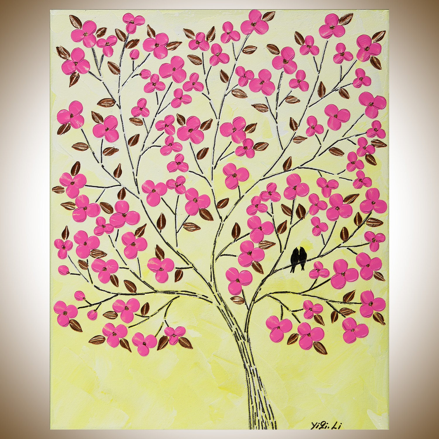 Yellow pink flowers love birds wall art wall decor Wall