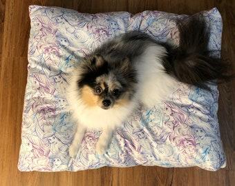 Ariel Little Mermaid hand made dog bed / cat / pet bed. Disney Princess flounder dog pillow mat pad gift. Orange and black.
