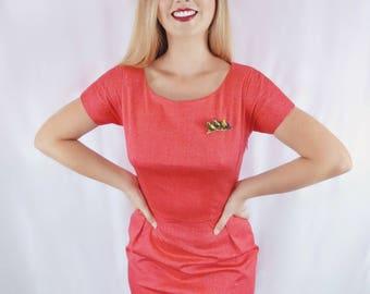 Rosemary | 1950s Style Sheath Dress | Red Dress | Vintage Style Dress | Wiggle Dress  | 1950s Dress | Retro Dress