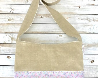Tan And Palm Print Crossbody Bag, Crossbody Purse, Boho Crossbody Bag, Canvas Bag, Sling Bag