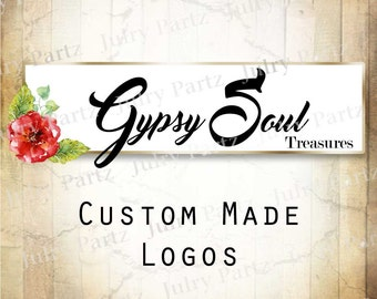 LOGO in Apple Blossom Red•Premade Logo•Jewelry Card Logo•Flower Logo•Custom Logo•Shop Logo