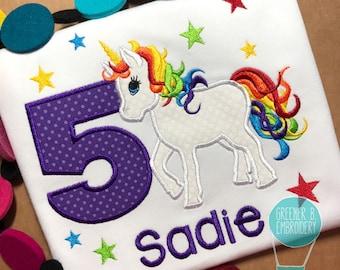 Birthday Unicorn Shirt / Unicorn Applique Shirt / Rainbow Unicorn / Girl Unicorn Shirt / Toddler Unicorn Shirt / Personalized Unicorn Shirt