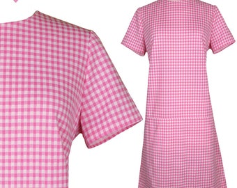Vintage 60s Dress Pink White Gingham Mod GoGo A-line Shift 60's Dress Short Sleeve Sleeved S M Dolly Lolita Babydoll Party