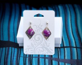 Fine Silver Diamond shaped Dangle Earrings, Purple Swirl Bead