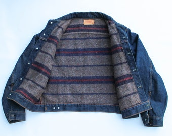 Vintage Levi's Big E Wool Lined Denim Jean Trucker Jacket Type III 1960s Medium RARE