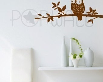 Vinyl Wall Sticker Decal - Owl on Branch - 048