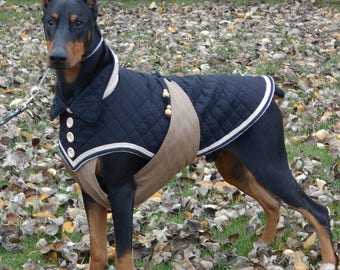Dog winter coat MASSAI in black/chestnut for large Breeds