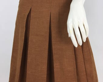 Vintage Lui Chantant, Lui Chantant wool pleated skirt, vintage wool skirt/70s box pleat skirt