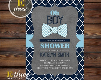 Bow Tie Baby Shower Invitation - Baby Boy Shower Invite - Preppy Navy, Baby Blue, Gray Little Man Shower Invite #1016