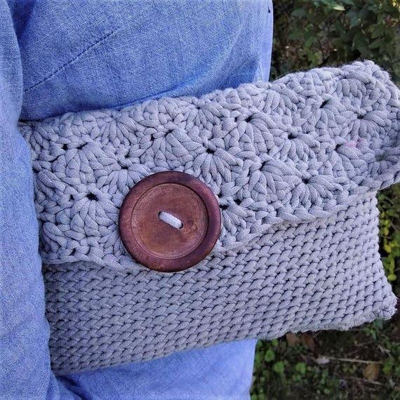 Taupe Crochet Clutch Purse (CHOOSE YOUR COLORS)
