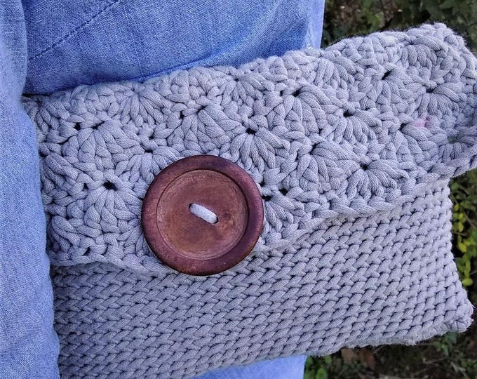 Taupe Crochet Clutch Purse (CHOOSE YOUR COLORS)
