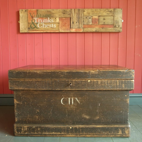 Vintage Industrial Tool Chest Coffee Table Storage Trunk Wood Box Rustic Furniture