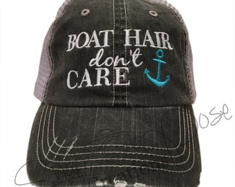 Boat Hair Don't Care Trucker Hat with Turquoise Anchor (Choose Your Anchor Color)