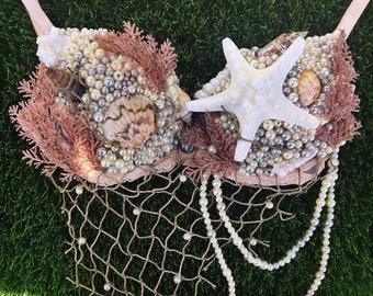 Coral Sea Goddess Mermaid Bra | Rave Bra | Festival Bra | Mermaid Costume | Burlesque Bra | Belly Dance Bra | Rave Outfit | Samba Bra