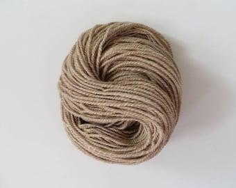 Hand Spun Yarn 169 yards, Alpaca Yarn, Worsted, Tan 2 ply 6.5 oz