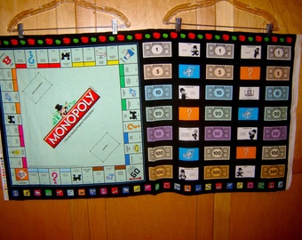 Fabric Quilting Treasures MONOPOLY game board PANEL money game pieces black border Now reprinted