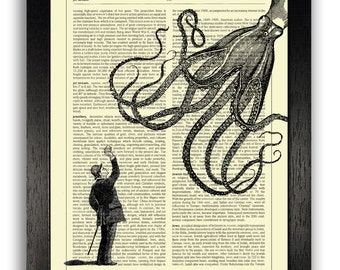 ART PRINT - Man Throwing Apple to Squid, 8 x 10 Art Print, Funny Decor, Funny Dictionary Print, Cool Poster, Funny Poster Artwork, Squid Art