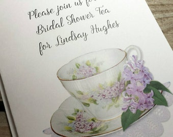 Personalized Lilac Lavender Teacup Tea Invitations Thank You Cards Note Cards for Birthday Bridal Shower Wedding Anniversary Party