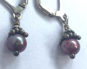 Handmade Earrings of Freshwater Pearls and Sterling Silver