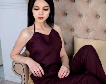 Linen pajamas, Linen sleepwear, Pajama set, Linen homewear, Nightwear, Pajama pants, Pajama set women