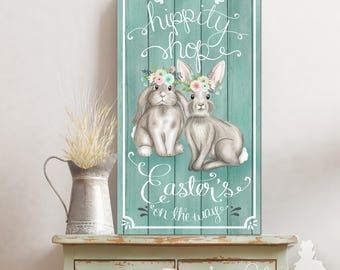 Hippity Hoppity Easter's on The Way - Easter Bunny Personalized Large Family Personalized Sign Wall Art Home Decor