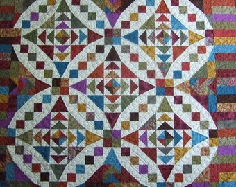 Little Jewels handmade quilt, machine quilted; throw quilt; wallhanging quilt; quilt with teal; quilt with brown and rust; ready to ship