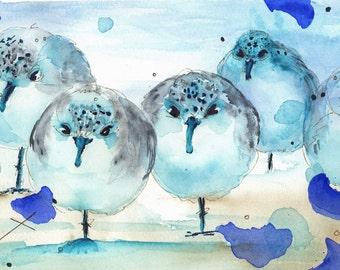 Original Watercolor Print of Sanderlings on Shore, Bird Art, Large Bird Print