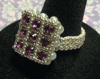 Purple Beaded Ring Square Beaded Ring Lavender Bead Ring Purple Crystal Ring Silver Crystal Ring Peyote Ring Beadwork Ring