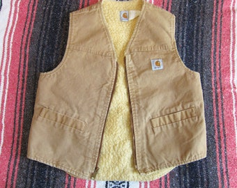 Large Carhartt Sherpa Lined Vest / Shearling, Brown Canvas Duck, Made in USA, Faded, Broken In