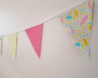 Fabric Bunting - 3 m/10 ft  with 13 flags - Pink Yellow White Peter Rabbit Cotton  Spring Celebration Nursery Decor Baby Shower