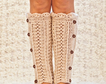 Crochet PATTERN - Ivory Buttoned Leg Warmers