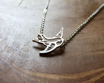 Swallow - a cute necklace with a little tiny swallow, outline. Silvertone, cute, animal, summer, bird, boho, gypsy, rockabilly