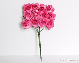 72 Small Magenta Pink Paper Roses - Ready for crafting
