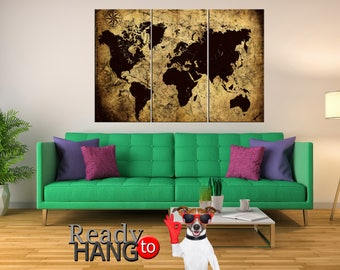 World Map, World Map canvas, World Map print, World Map wall art, World Map triptych, World Map art, Map of the world, Vintage World Map
