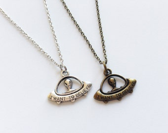 ALIEN Necklace UFO Necklace Alien Jewelry Alien Gift UFO Jewelry Spaceship Necklace Geeky Gift I Want To Believe Necklace Alien Charm Gift
