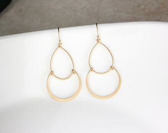 Ohrringe Gold Schicht Kreis, Double Layer Circle Earrings, einfache Ohrringe, Gold Ohrringe, Goldschmuck, zierliche Ohrringe