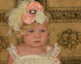 Baby Girls Shabby Chic Headband with Feathers-Hand Cut Flower Headband-Peach and Ivory Flower Headband-OTT Flower Headband